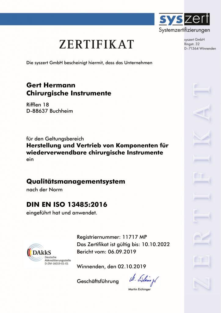 Zertifikat Qualitätsmanagement nach ISO 13485